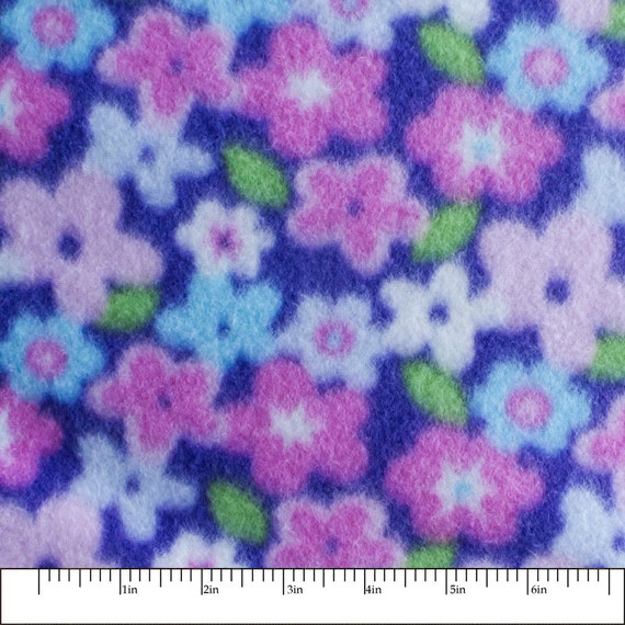 spring time flower print fleece fabric by the yard. Black Bedroom Furniture Sets. Home Design Ideas