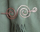 Curly Q Shaped Hammered Scarf, Shawl or Sweater Pin