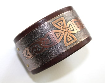 Celtic  mens bracelet, cross,  natural leather and etched copper