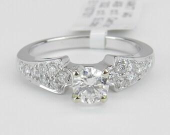 Diamond Engagement Ring 14K White Gold Round Pave Set Brilliant Natural Size 6.75