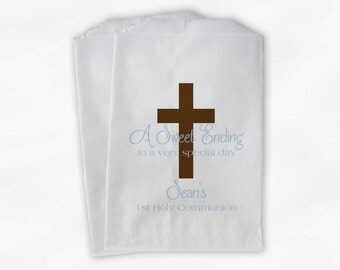 First Communion Favor Bags - Baptism or Religious Party Custom Favor Bags - Set of 25 Brown and Baby Blue Paper Treat Bags (0073)