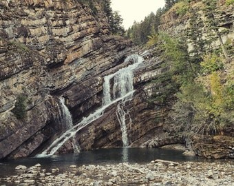 Nature Rock Waterfall Landscape Photography (20x16) Waterton Lakes National Park, Canada