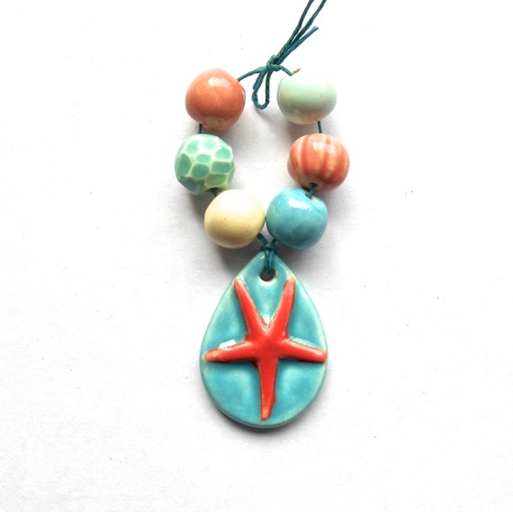 Starfish Pendant Bead Set Turquoise and Coral Handmade Porcelain