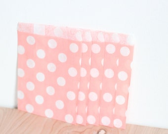 Paper Candy Bags 80 Count // Light Pink Polka Dot, 5x7 Merchandise, Wedding Favor, Candy Buffet, Gift Bag, Bridal or Baby Shower Party Bags