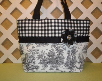 Black and White Toile Tote Bag with Ribbon Trim and Flower Accent / Handbag / Tote Bag / Purse
