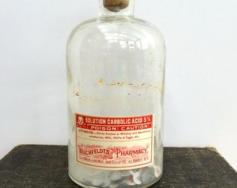 Antique  apothecary  Bottle with  original label