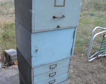 nice strong shape big 1950s or so metal INDUSTRIAL age mid century stacking sectional file FILING storage CABINET  pick up only