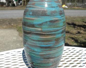 nice clean vintage mid century heavy 1960s 1970s cool glaze artist signed STUDIO ART pottery VASE