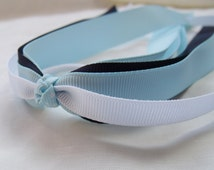 School Uniform Hair Streamer, Hair Tie, Pony O - Navy Blue, Light Blue, White