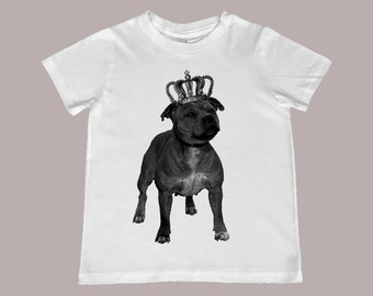 Crowned Staffordshire Bull Terrier Pit Bull Dog Youth Tee - infant, toddler, youth sizes available