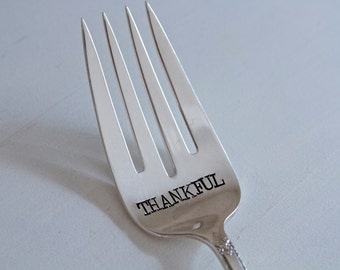 THANKFUL - Letter Hand Stamped Serving Fork - Vintage Gift - Home Decor, gift for hostess, gift for her, thanksgiving table, serving