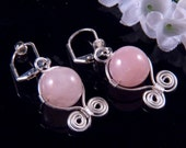 Wire Wrapped Pink Earrings Round Glass Bead Silver Wire Dangling Costume Jewelry Handmade In Montana Free Shipping to USA Gift Box