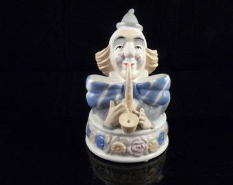 Musical Clown Figurine - Vintage Musical Clown - Porcelain Clown Figurine - Music Box - Collectible Meico Music Box - Vintage Clown Decor