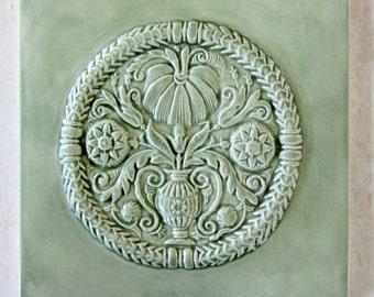 6x6 Ceramic Accent Tile -- Green Tea Glaze, Buttermold tile, antique buttermold, backsplash tile, floral relief, kitchen tile, bath tile
