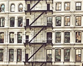 New York Photograph,Tribeca,Soho,Architecture,Modern Art,Fire Escape,Balcony,Window,Door,City Life,Dorm Decor,Romantic,Apartment,Preppy,Chic
