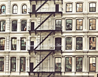 New York Photograph,Tribeca,Soho,Architecture,Modern Art,Fire Escape,Balcony,Window,Door,City Life,Dorm Decor,Romantic,Apartment,Preppy,Chic