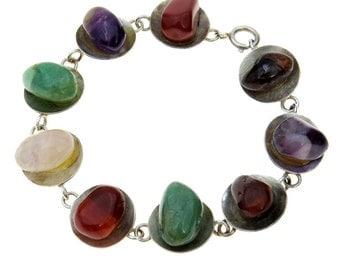 Vintage Stone Pebbles Modernist Sterling Bracelet