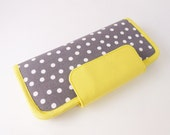 Grey yellow wallet, grey wallet, fabric wallet with zipper pocket, bifold purse