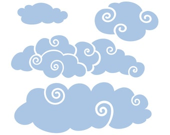 More Whimsy Clouds for the Wall   Wall Decal Package for Nursery   Boys Room