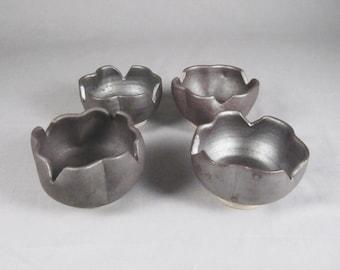 Taeko Tanaka, vintage studio pottery, lotus flower, small bowls, set 4