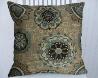 Blue Grey Pillow Cover-- Suzani  Decorative Pillow Cover- 18x18 or 20x20 or 22x22 Throw Pillow- Accent Pillow