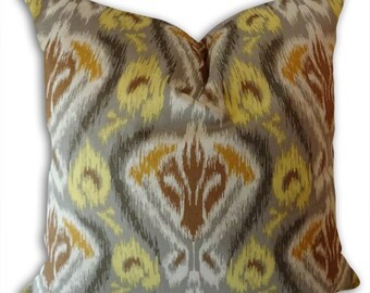 Gold Brown Pillow Cover-- Abstract Decorative Pillow Cover- 18x18 or 20x20 or 22x22 Throw Pillow- Accent Pillow