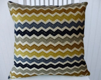 Chevron Chenille Pillow Cover --18x18 or 20x20 or 22x22 Zig Zag, Slate Blue, Gold, Grey, Black, Cream Decorative Throw Pillow Cover
