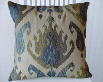 Blue Grey Ikat Pillow Cover---18x18 or 20x20 or 22x22 Decorative Throw Pillow-Accent Pillow Cover