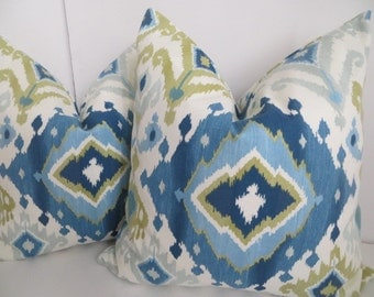 Ikat Blue And Cream Pillow Covers, Sky Blue Pillow Cover,Cream Blue Pillows,Teal And Lime Green Pillow Covers, Ikat Pillow covers