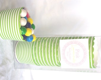 Small Green Skinny Stripe-Boxed-Nut/Candy/Baking Cups-20ct--Parties--cupcakes-gumballs-snacks