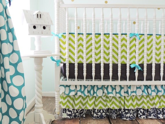 Custom Crib Bedding for a Boy or a Girl in Lime Chevron, Navy Damask, and Turqoise Dots