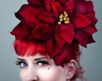 Large Christmas Flower Headpiece Fascinator