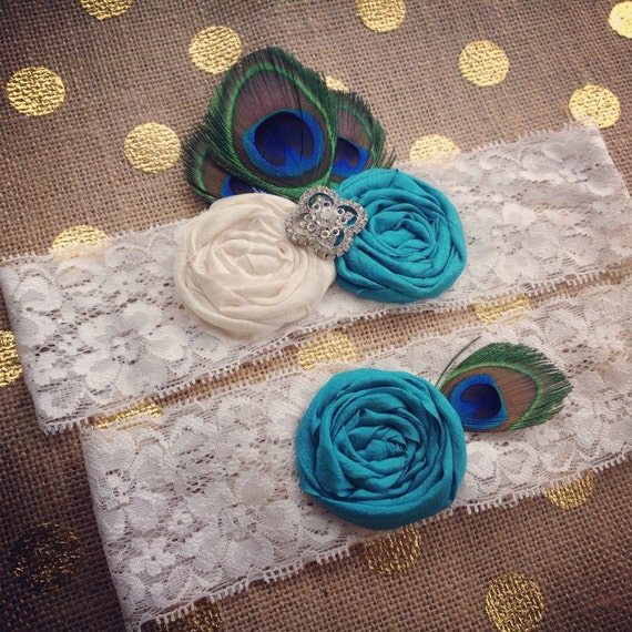 PEACOCK Wedding Garter set / CHOOSE COLORS / Vintage Inspired Wedding garter / Garter Set / bridal garter / toss garter / Something Blue