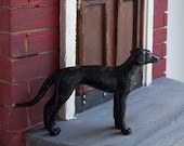 Cast Iron Look Dog Statue Hound in 1 Inch Scale for Dollhouse Miniature or Train Hobby