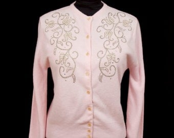 1950s Sweater // Pink Rhinestone, Beaded and Silver Embroidered Sweater