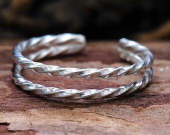 Twisted Silver Double Band Toe Ring Sterling