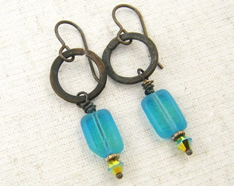 Aqua Dangle Earrings, Brass Hoop Earrings, Turquoise Bead Earrings, Rustic Metal Jewelry