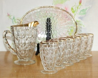 Vintage, Jeannette Glass, Gold Rim, Thumbprint Juice Pitcher, 6 Juice Glasses and Lovely Serving Tray