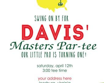 Master Gold Party Golf Green Birthday Argyle Masters Adult  Preppy Children Birthdays 5x7 2 sided Printable Party invitation