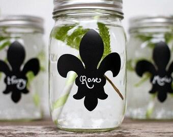 Wedding Chalkboard Labels for Mason Jars, Set of 24 Fleur de Lis, Made in the USA, Wedding Favors, Mason Jar Label,