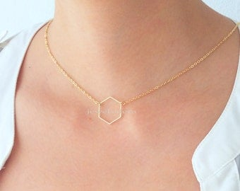 Gold Honeycomb Hexagon Necklace Geometric Shape Modern Delicate Simple Everyday Casual Jewelry Gift Bridesmaids Sisters BFF Friendship C1