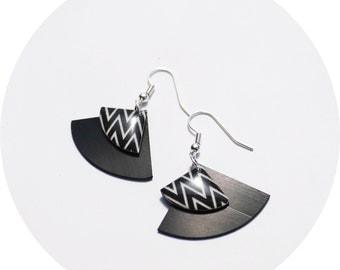 black earrings vinyl record dangle earrings chevron earrings zig zag earrings fan earrings upcycled earrings unique jewelry gift idea