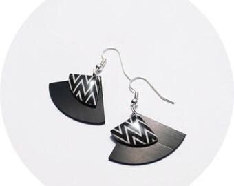 black earrings upcycled dangle earrings valentine's jewelry for her chevron earrings zig zag earrings geometric earrings minimalist jewelry