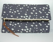 charcoal and cream hope clutch