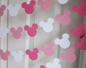 Pink Minnie Inspired Party Decorations, Minnie Birthday Party, Paper Garland, Pink Minnie Garlands, Minnie Inspired Bunting
