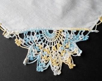 Vintage Handkerchief, Crochet Handkerchief, Hankie, Handkerchiefs, Aqua, Yellow, Linen, Ladies Hankies, Hankerchief, All Vintage Hankies
