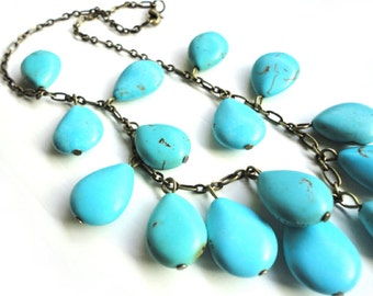 Chunky Turquoise Necklace - Stone Teardrops on Bronze Chain