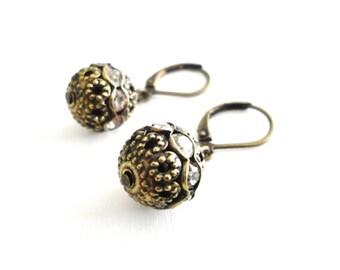Short Bronze Earrings with Rhinestones - Simple Leverback Drop Earrings