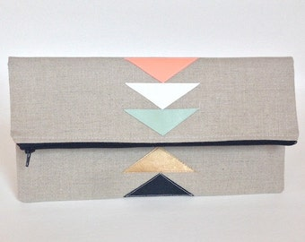 Geometric Linen Fold Over Zipper Clutch