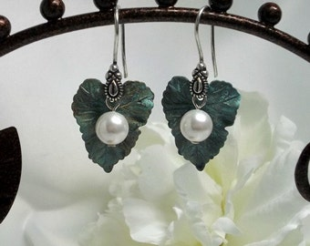 Verdigris Leaf and Pearl Earrings